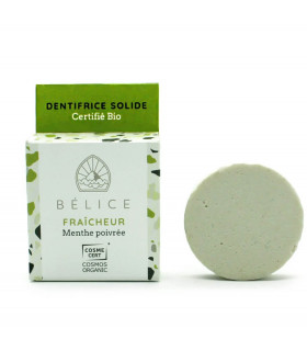 Belice green pepper mint bar toothsoap with cardboard package on the side