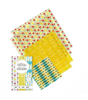Five Beebee wraps Beeswax coated food wrap with nature pattern