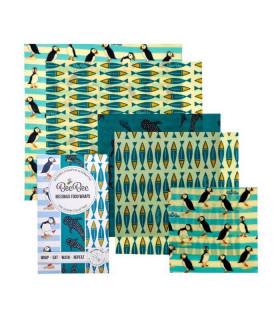 Five Beebee wraps Beeswax coated food wrap with ocean pattern