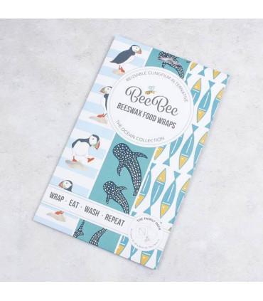 Five Beebee wraps Beeswax coated food wrap in their ocean pattern cardboard package