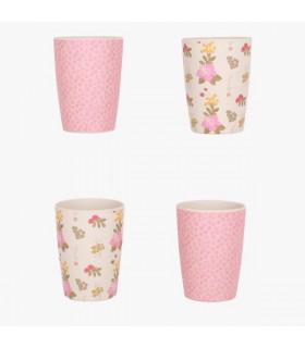 Lot de 4 gobelets en bambou roses et fleuris de la marque Love Mae