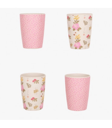 Four Love Mae pink and floral colored pattern tumblers