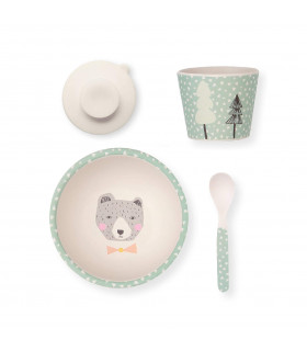 Love Mae green Bear pattern bowl, spoon, tumbler and suction cup