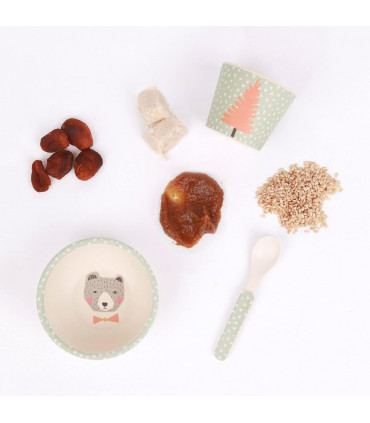 Love Mae green Bear pattern bamboo bowl, spoon and tumbler with dry foods