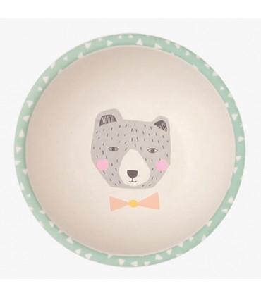Love Mae green Bear pattern bamboo bowl