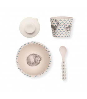 Love Mae sleeping fox pattern bamboo bowl, spoon, tumbler and suction cup