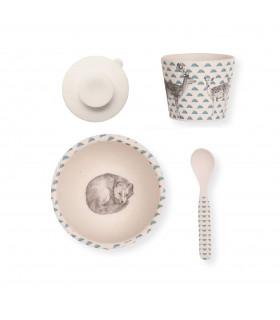 Coffret vaisselle pour bébé en bambou, motif renard de la marque Love Mae