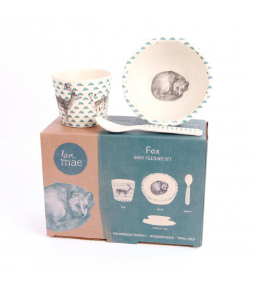 Love Mae blue sleeping fox pattern bowl, spoon, tumbler and suction cup bamboo dinner set in cardboard package