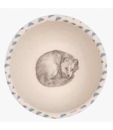 Love Mae blue and white sleeping fox pattern bamboo bowl