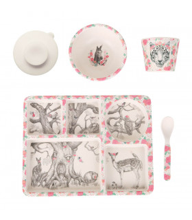 Love Mae pink floral enchanted forest pattern bamboo kids plate, bowl spoon tumbler and suction cup set