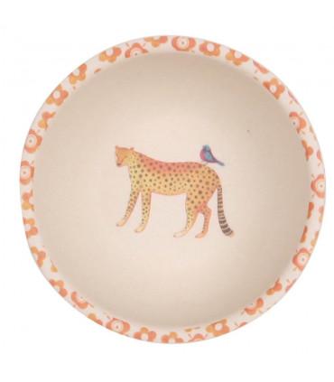Love Mae orange and white safari pattern bamboo bowl