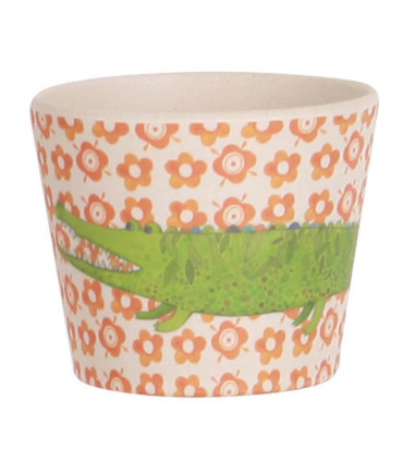 Love Mae orange floral safari pattern bamboo tumbler with crocodile