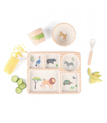 Set de vaisselle enfant : assiette compartimentée, bol, gobelet, cuillère, ventouse, motif safari