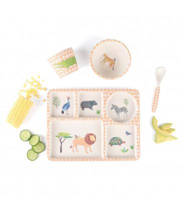 Love Mae orange safari pattern bamboo kids plate, bowl spoon and tumbler set with corn and cucumber