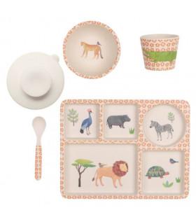 Love Mae orange safari pattern bamboo kids plate, bowl spoon tumbler and suction cup set