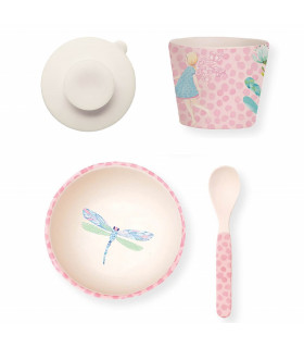 Love Mae pink fairy pattern bamboo bowl, spoon, tumbler and suction cup baby dinner set