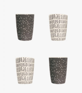 Four Love Mae black and white monochrome colored pattern tumblers