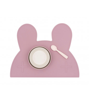 We might be tiny Dusty rose silicone bunny kids table set with bowl and spoon