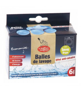 Emballage en carton de six balles de lavage anti-calcaire