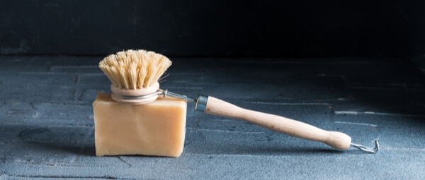 Wooden rechargeable head brush on cleaning bar soap