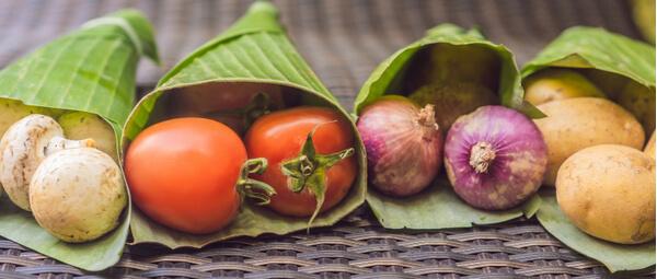 Natural reusable food wrap next to ecological food wraps