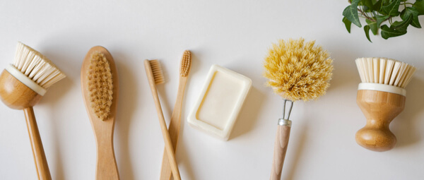 Several types of brushes with soap to clean your plastic free home