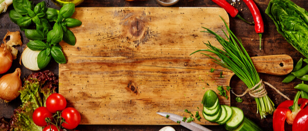 Chopping board in zero waste kitchen