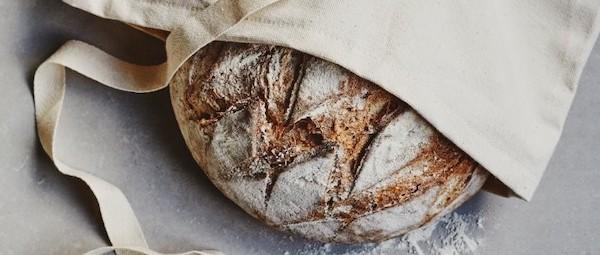 Reusable cotton fabric bread bag